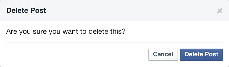 Facebook's delete confirmation dialog without the &delete all & checkbox